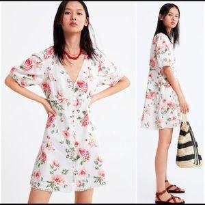 Zara Floral Rose Linen/Cotton Mini Dress